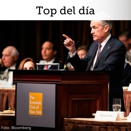 """Top del día: Comentarios menos """"hawkish"""" de Powell siguen siendo digeridos por mercadosfinancieros"""
